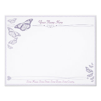 """Plum Butterfly Correspondence Cards 4.25"""" X 5.5"""" Invitation Card"""