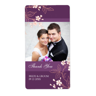 Plum Coral Floral Photo Wedding Labels