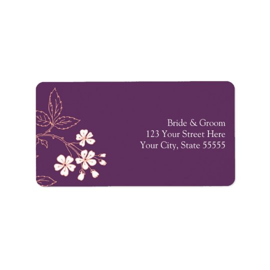 Plum Coral Wedding Custom Return Address Labels