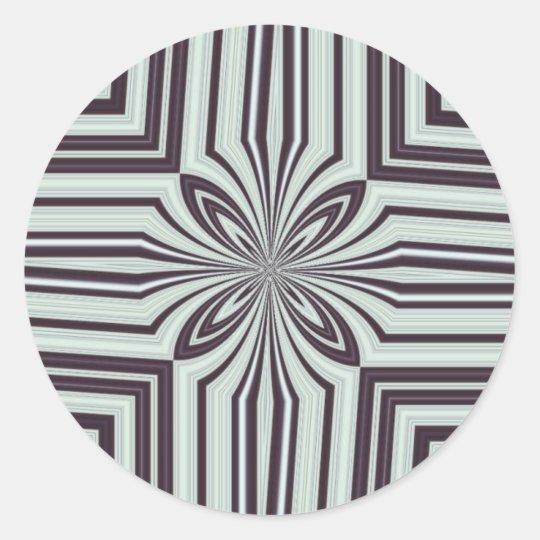 Plum & Cream Kaleidoscope Classic Round Sticker