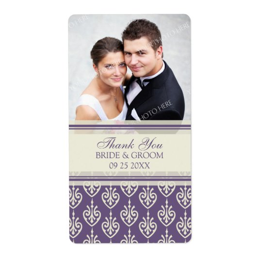 Plum Cream Pattern Photo Wedding Labels