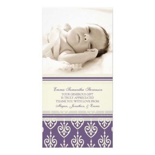Plum Cream Thank You Baby Shower Photo Cards