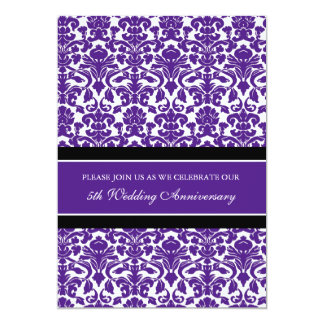 Plum Damask 5th Anniversary Party Invitation
