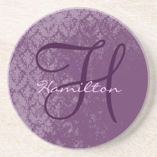 Plum Damask Monogram Wedding Anniversary Coasters