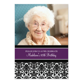 "Plum Damask Photo 85th Birthday Party Invitations 5"" X 7"" Invitation Card"