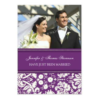 Plum Damask Photo Just Married Announcement Cards