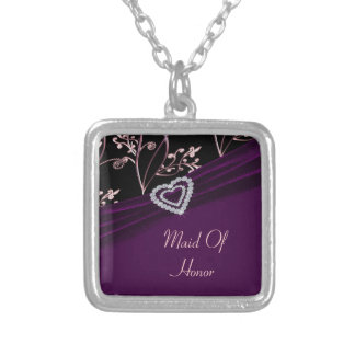 Plum Elegance Heart Floral Swirls Silver Plated Necklace