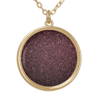 Plum  Faux Glitter  Design Gold Plated Necklace