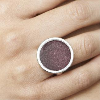 Plum  Faux Glitter  Design Photo Ring