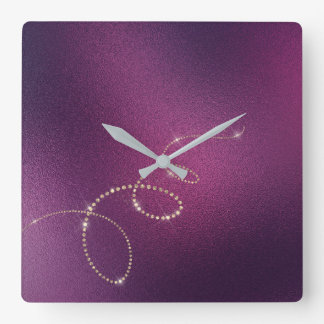 Plum  Faux Gold Crystals Frozen Glass Infinity Square Wall Clock