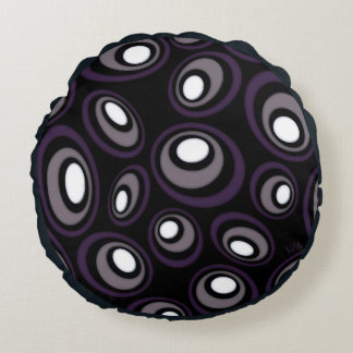 Plum & Fawn Offset Retro Ovals Round Pillow