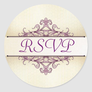 Plum Filigree with Champagne RSVP Sticker