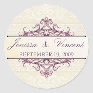 Plum Filigree with Champagne Save the Date Sticker