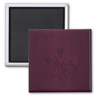 Plum Fleur de Lis Square Magnet