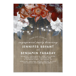 Plum Floral Lights Rustic Engagement Party Card