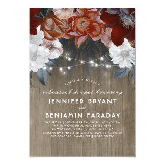 Plum Floral Lights Rustic Rehearsal Dinner Card