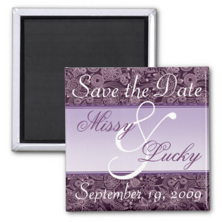 Plum Floral & Purple Ribbon Save the Date Magnet
