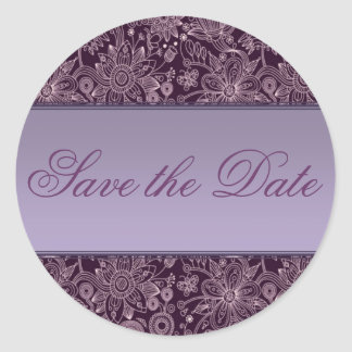 Plum Floral Save the Date Sticker/Seal Classic Round Sticker