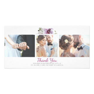 Plum Floral Watercolor 3 Photos Wedding Thank You Photo Card Template