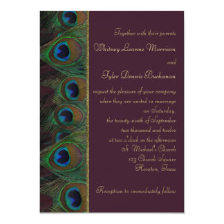 Plum, Gold Peacock Feathers Wedding Invitation