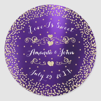 Plum Gold Rose Glitter Save the Date Love is Sweet Classic Round Sticker