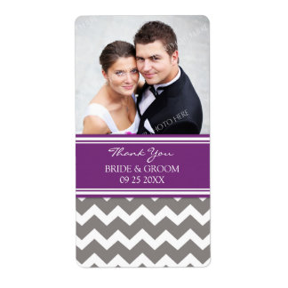 Plum Gray Chevron Photo Wedding Labels