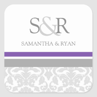 Plum Gray Damask Monogram Envelope Seal