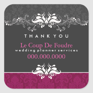 Plum Gray Damask Wedding Planner Thank You Sticker