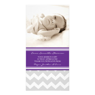Plum Gray Thank You Baby Shower Photo Cards