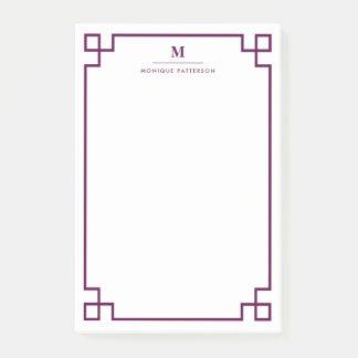 Plum Greek Key Border Monogram Personalized Post-it® Notes