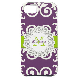 Plum Green Swirls Floral Damask, Your Monogram iPhone 5 Covers