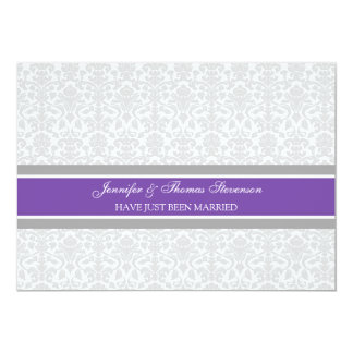 Plum Grey Damask Just Married Announcement Cards