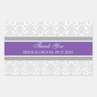 Plum Grey Damask Thank You Wedding Favor Tags