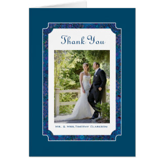 Plum Happy Wedding Thank You Photo Note Card