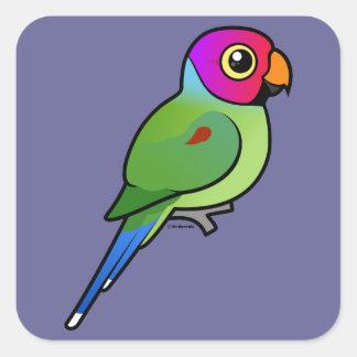 Plum-headed Parakeet male Square Sticker