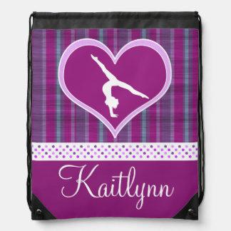 Plum Heart w/ Aqua Stripes and Polka-Dots Gymnast Cinch Bags