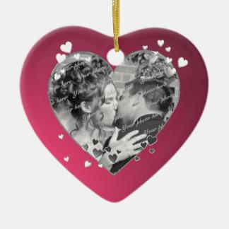 Plum Hearts and Ribbon Photo Ceramic Ornament