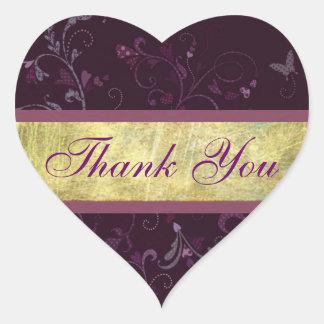 Plum Hearts Thank You Sticker/Seal Heart Sticker