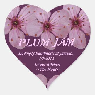 Plum Jam Jar Label (Personalize) Heart Sticker