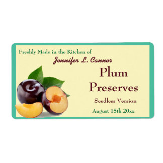 Plum Jam or Preserves  II Fruit Canning Jar Shipping Label