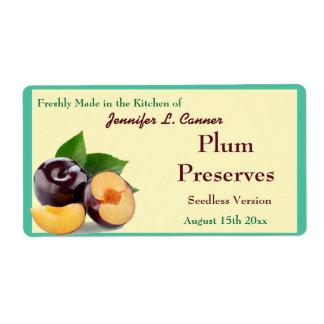 Plum Jam or Preserves  II Fruit Canning Jar Shipping Label