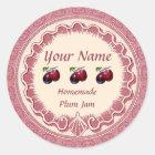Plum Jam Personalize Pink Classic Round Sticker