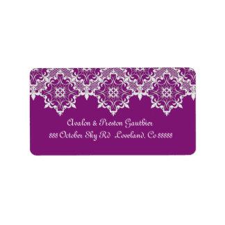 Plum Lace Wedding Address Label