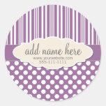 Plum / Light Purple Product Label Round Sticker