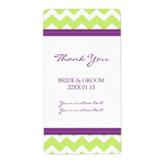 Plum Lime Chevron Wedding Labels