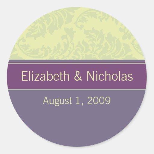 Plum Love Wedding Invitation Seal Round Sticker