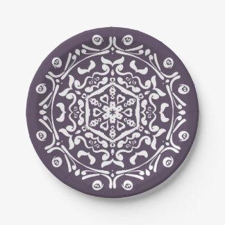 Plum Mandala 7 Inch Paper Plate