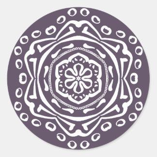 Plum Mandala Classic Round Sticker