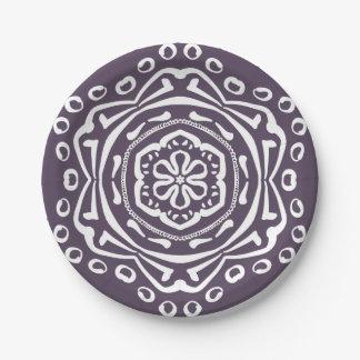 Plum Mandala Paper Plate