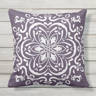 Plum Mandala Throw Pillow